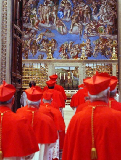 FILE PHOTO OF CARDINALS PROCESSING INTO SISTINE CHAPEL