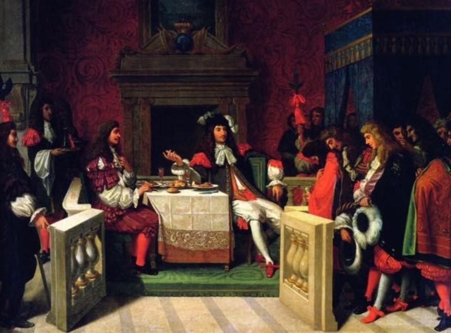 Louis 14 déjeunant avec Moliere, tableau de Ingres
