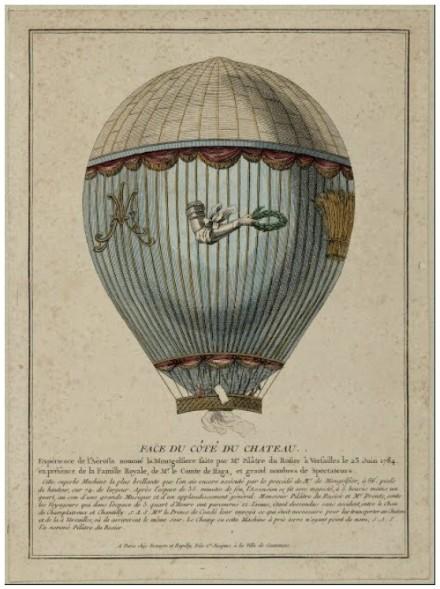 Versailles expérience de l'aerostat dans les jardins de Versailles en 1784